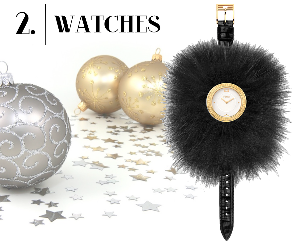 Fendi Timepieces 36mm Fendi My Way Watch w/Removable Fur Glamy, Black
