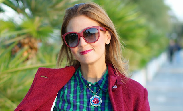 Tarina Tarantino necklace, plaid shirt, Fashion and Cookies, fashion blogger