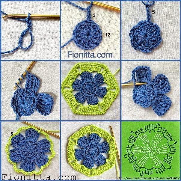 Granny hexagonal con centro floral - paso a paso en fotos   Crochet ...