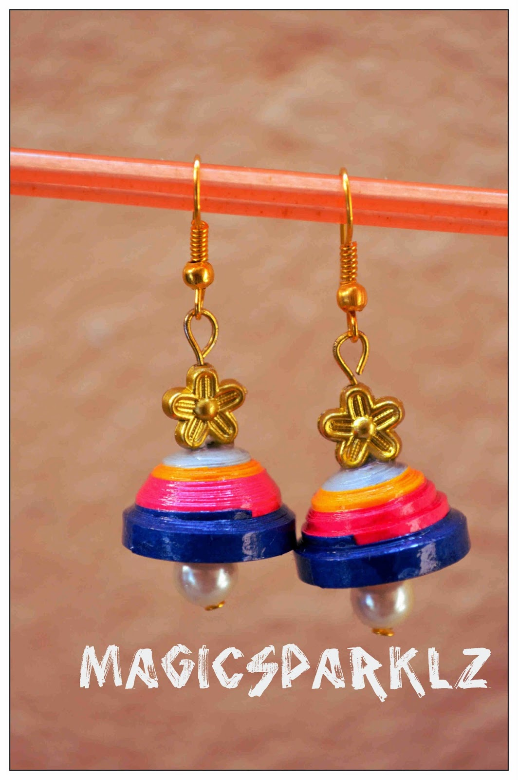 multi colour quilled jhumka