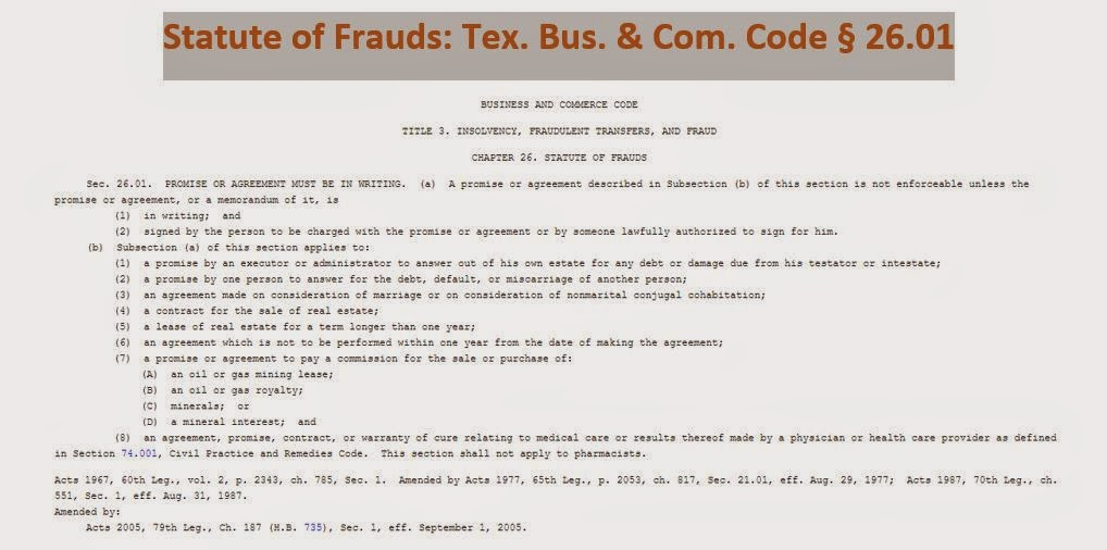 Coatx Statute Of Frauds As To Loans For More Than 50000