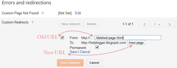 custom redirects, redirect old url to new url