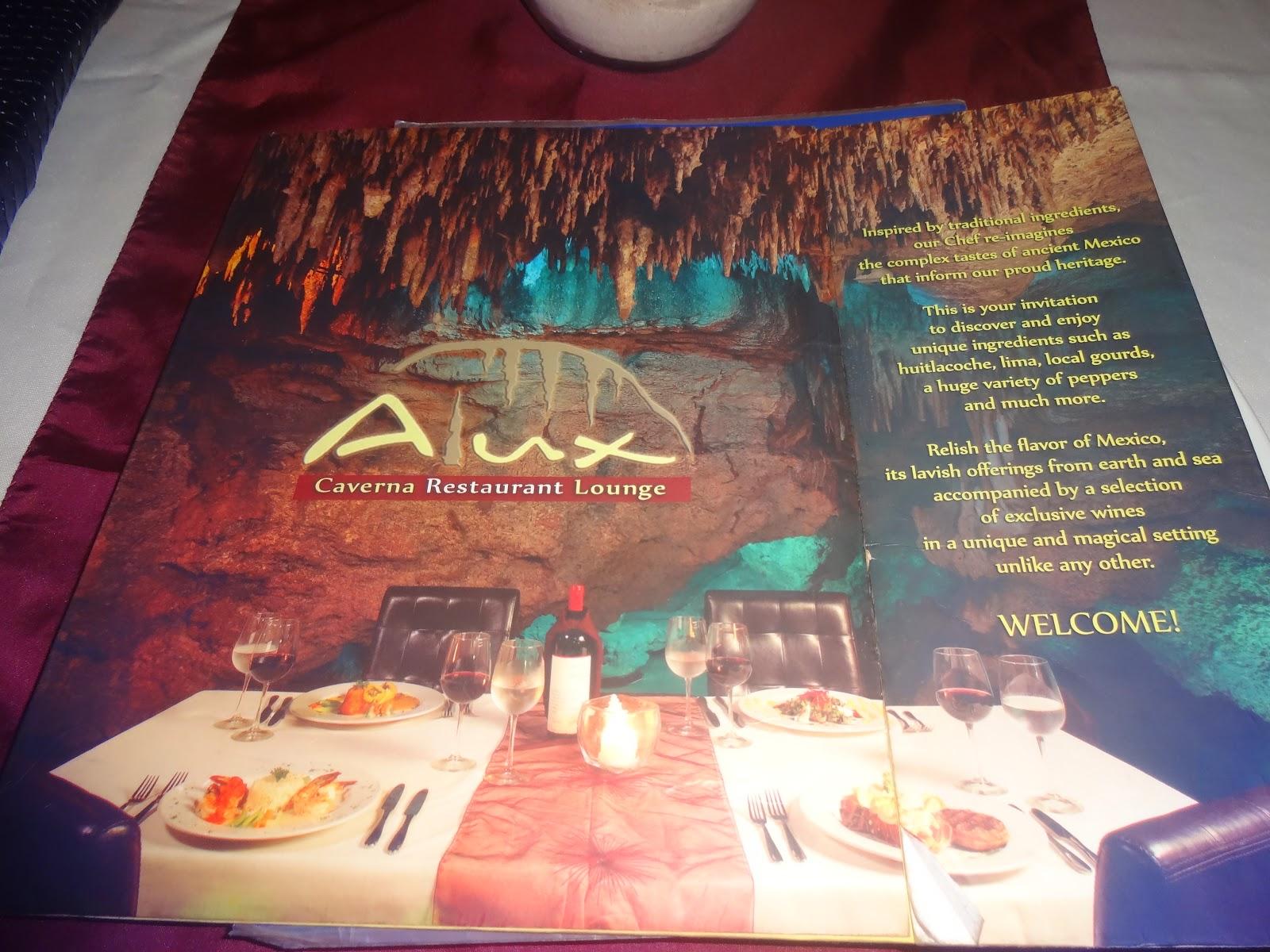 cardápio - restaurante Alux - Playa del Carmen