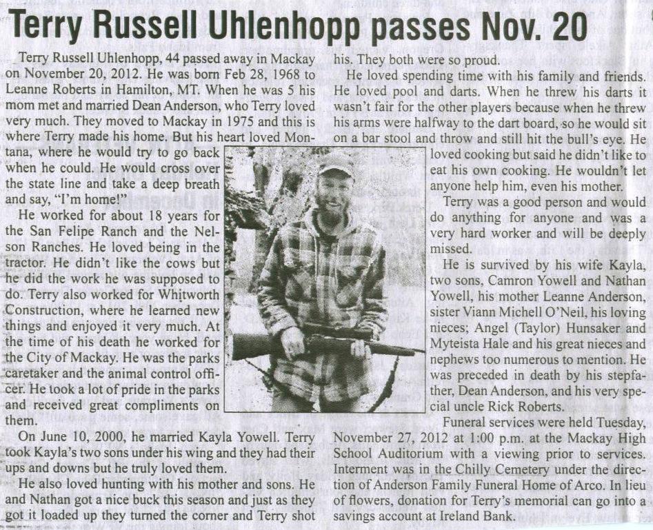 Mackay, Idaho 83251: November 2012