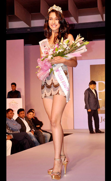 Navneet Kaur Dhillon during the Ponds Femina Miss India 2013 beauty pageant held at Yash Raj Studios in Mumbai on March 24, 2013.