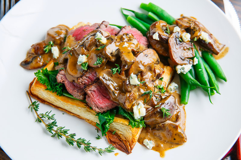 Beef Wellington Tarts with Mushroom Blue Cheese Sauce