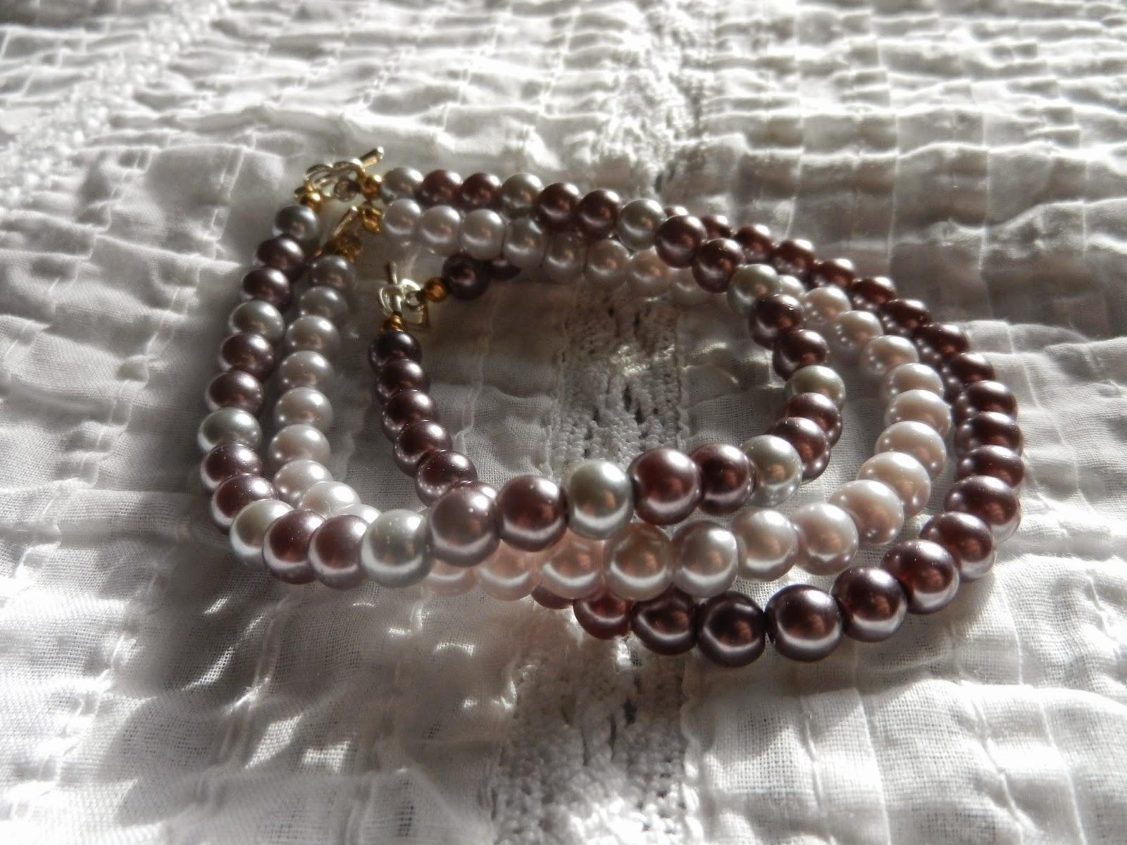purple pearl stack bracelets