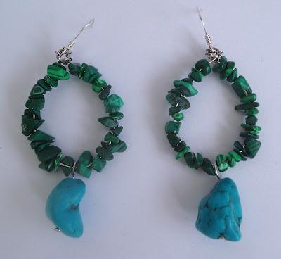 handmade malachite and turquoise hoop earrings
