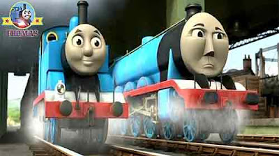 Shipping cargo landing stage Thomas the tank engine at Brendam docks fast express Gordon the train