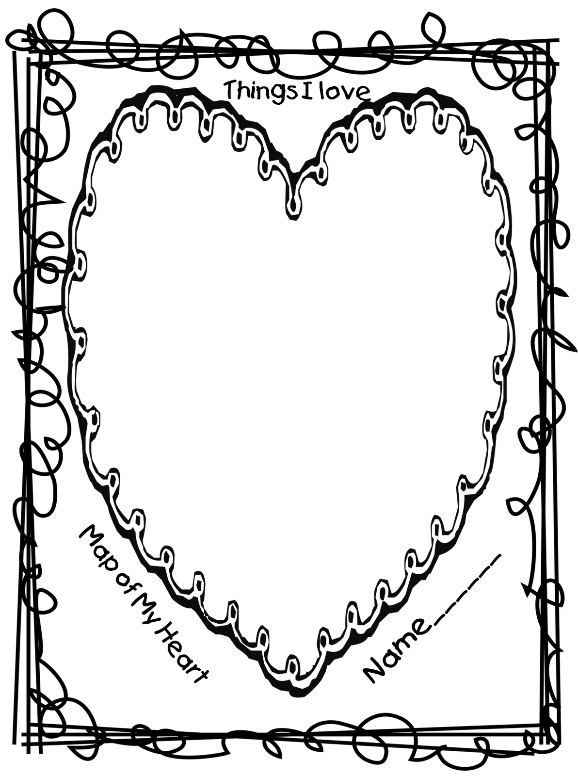 Heart writing template with lines 293603 - hitori49.info