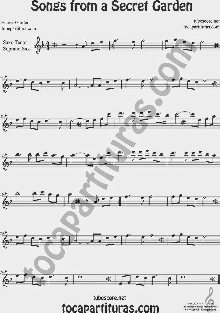 Songs from a Secret Garden Partitura de Saxofón Soprano y Saxo Tenor Sheet Music for Soprano Sax and Tenor Saxophone Music Scores