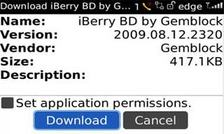Langkah 2a Install Tema BlackBerry via OTA