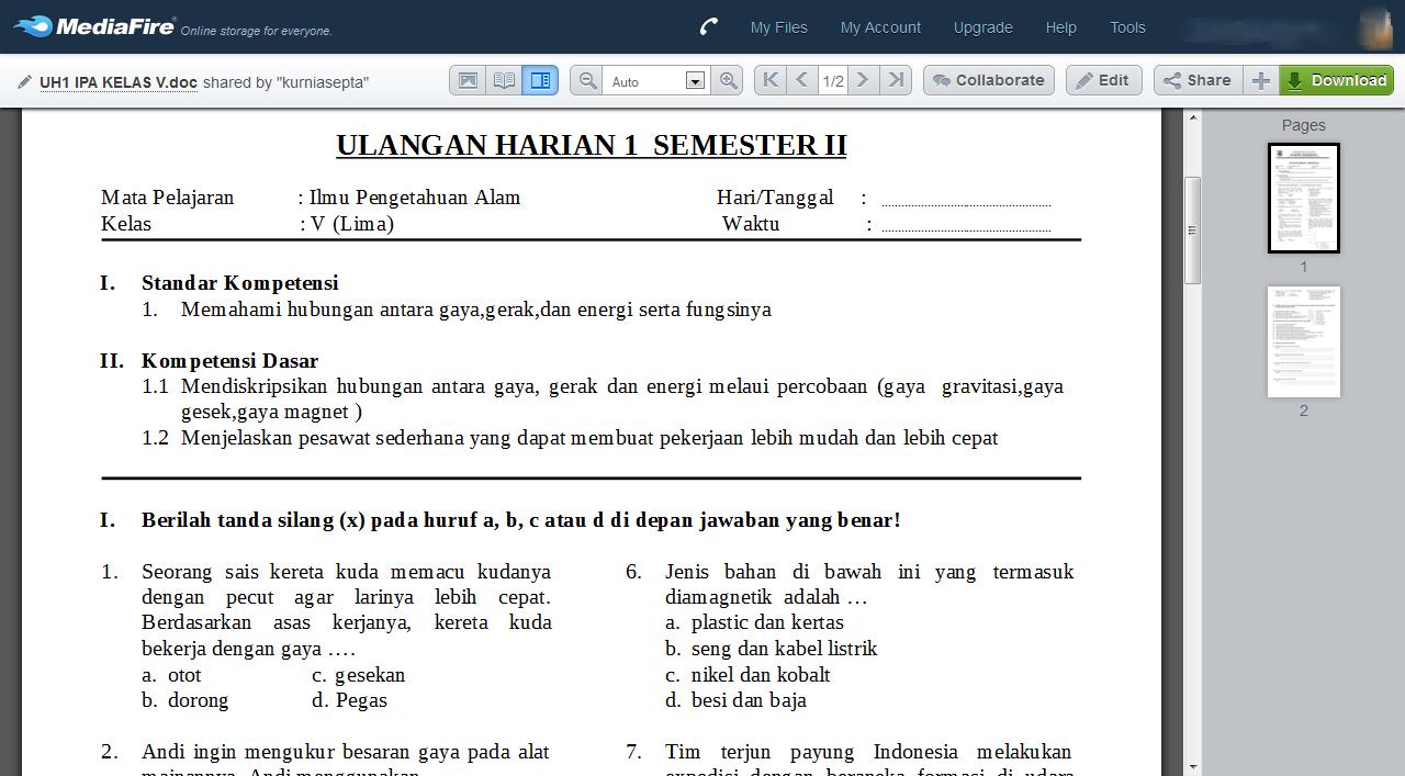 Contoh Soal Ulangan Harian Matematika Kelas 5 Sd Semester 2 Newhairstylesformen2014 Com