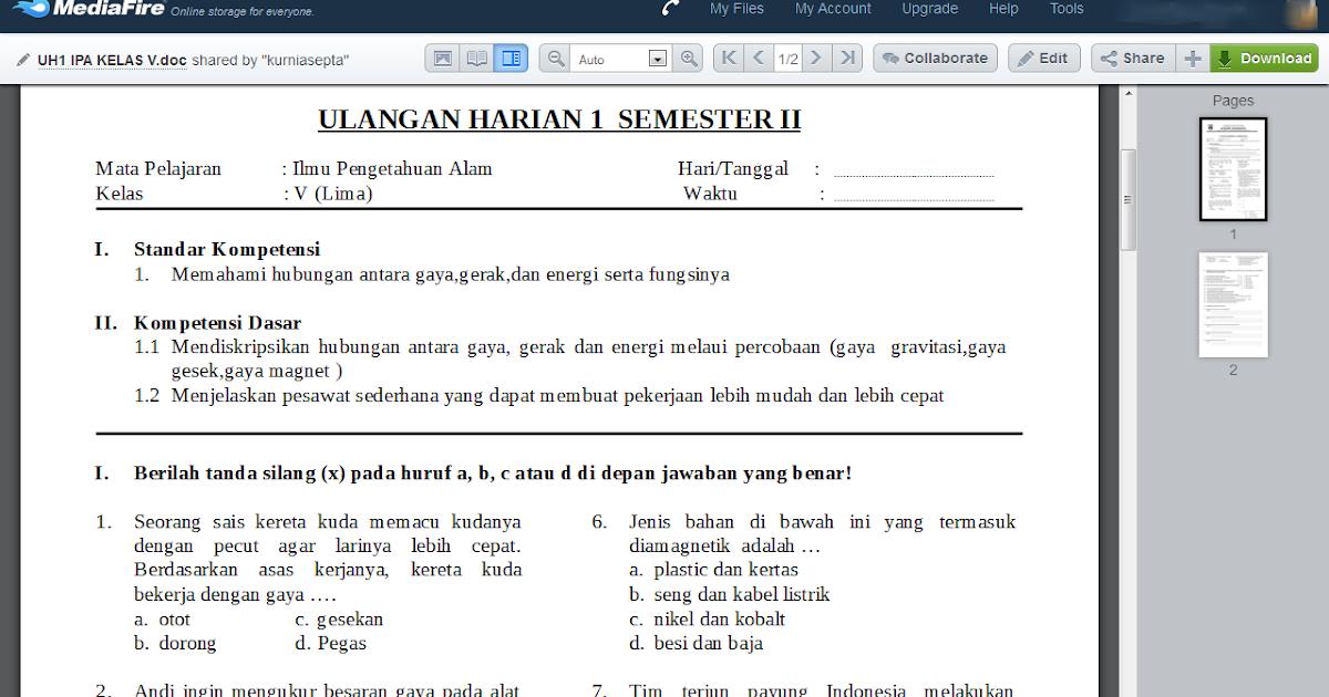 Download Kumpulan Soal Ipa Kelas 5 Semester 2