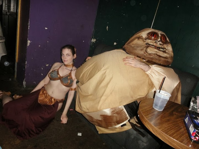 Slave Leia costume, Jabba the Hutt costume, Jabba the Hut, Jaba, homemade costume, Halloween costume, Hallowe'en costume, clever costume ideas, couples costume, Suzanne Amlin, A Coin For the Well, sexy girl, hot chick