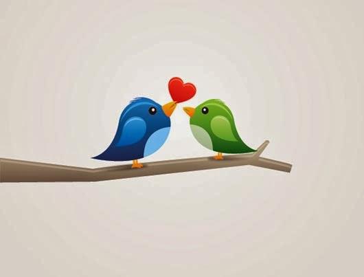 Birds in Love Vector Graphic