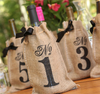 burlap bag table numbers