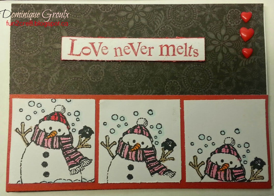 Melting Snowman Valentine's card