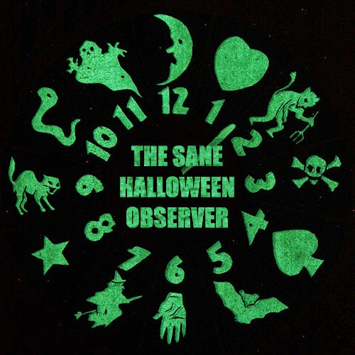 clock-like numbers glow in the dark on vintage Halloween game (ghosts, devils, cats, symbols, charms, bats, witches).