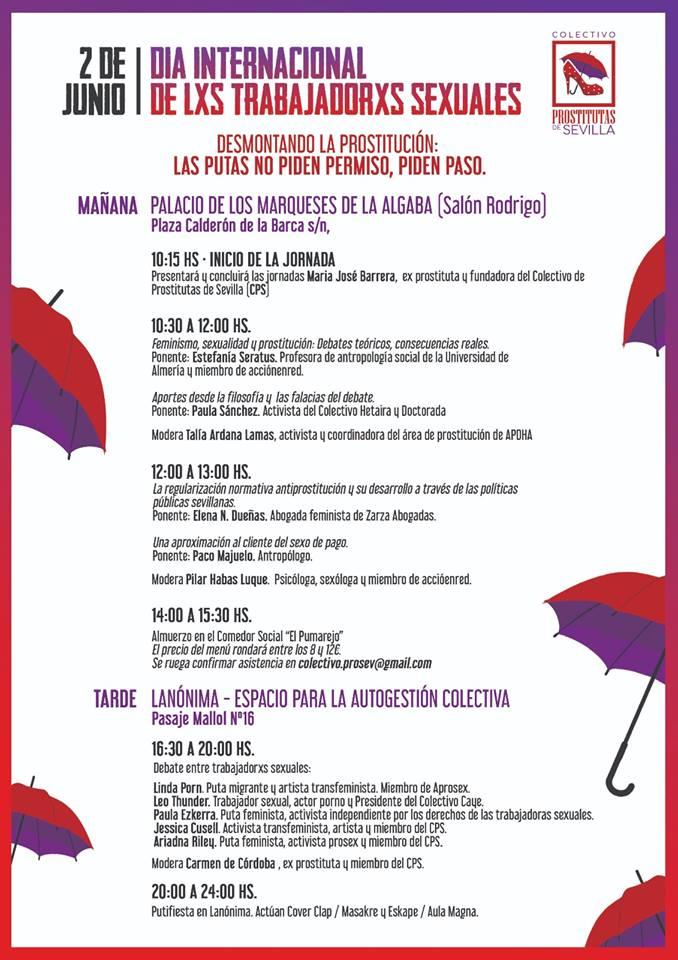2 de Junio, DÍA INTERNACIONAL DE LXS TRABAJADORXS SEXUALES. Jornadas* en Sevilla.
