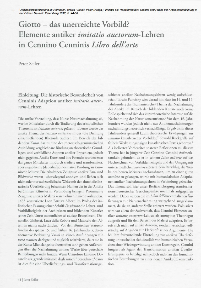 cennino cennini a modern or a traditionalist an essay by peter 4 the essay by peter seiler also available in the electronic database of the university of heidelberg