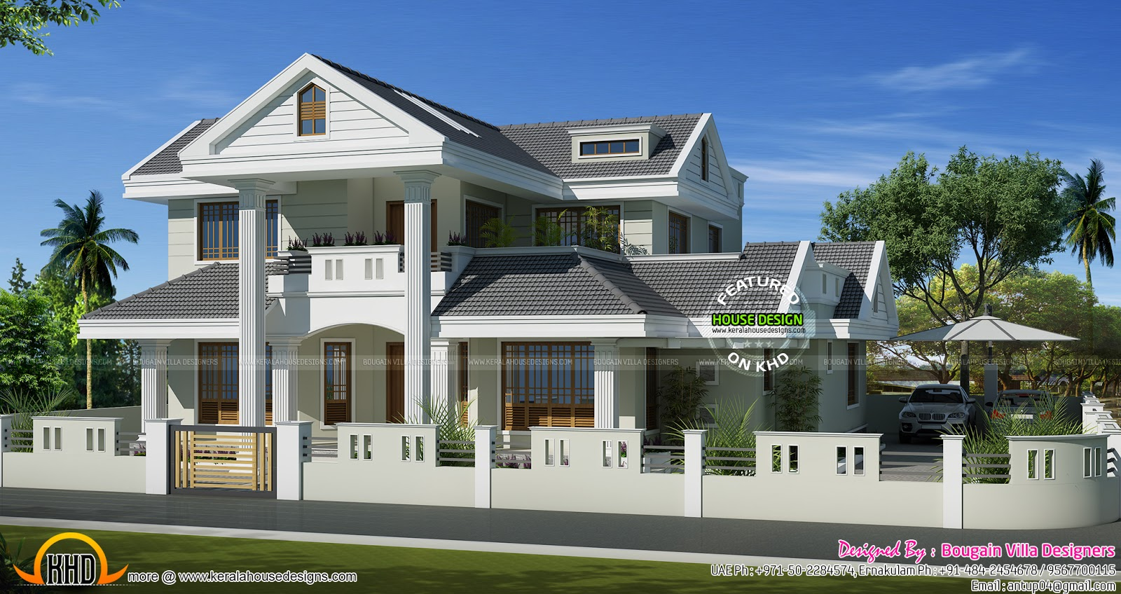 Beautiful villa in 2500 sq feet kerala home design and for Model house plan