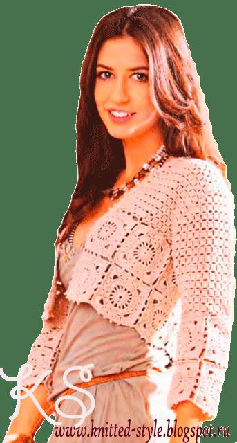 Нежно-розовый жакет-болеро