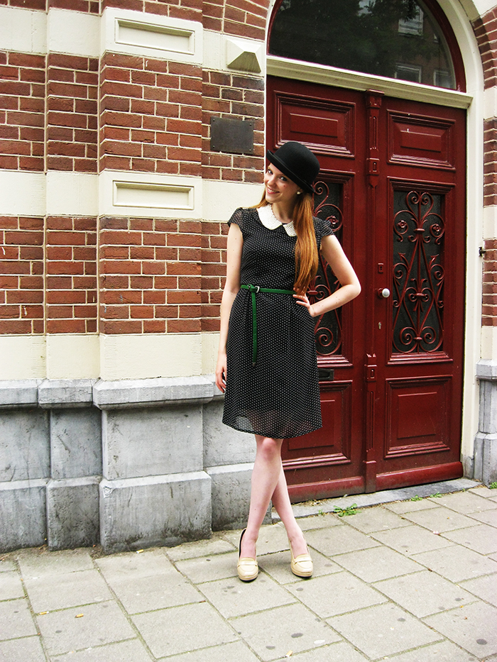 Personal Style fashion blog outfit Preppy bowler hat shoes