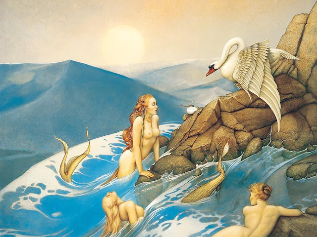 Mermaids,painting,Micheal Parkes
