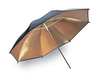 A Gold Coated Umbrella Used for Photography