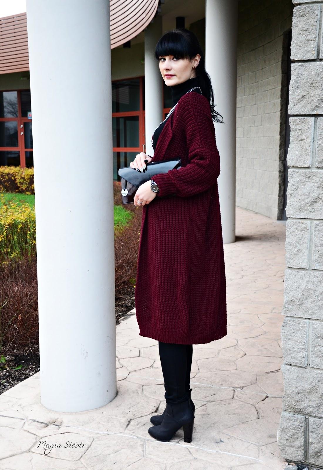 stylizacja, sweter, kardigan burgundowy