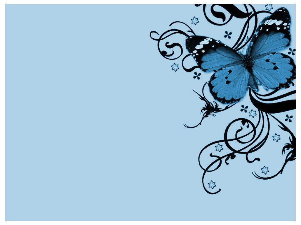 blue butterfly swirls pattern