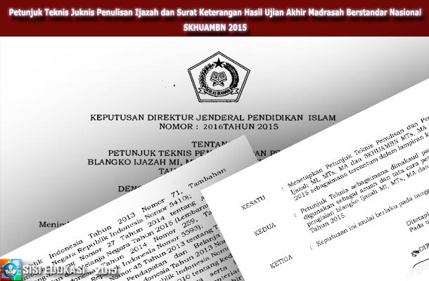 Petunjuk Teknis Juknis Penulisan Ijazah Dan Surat Keterangan Hasil Ujian Akhir Madrasah