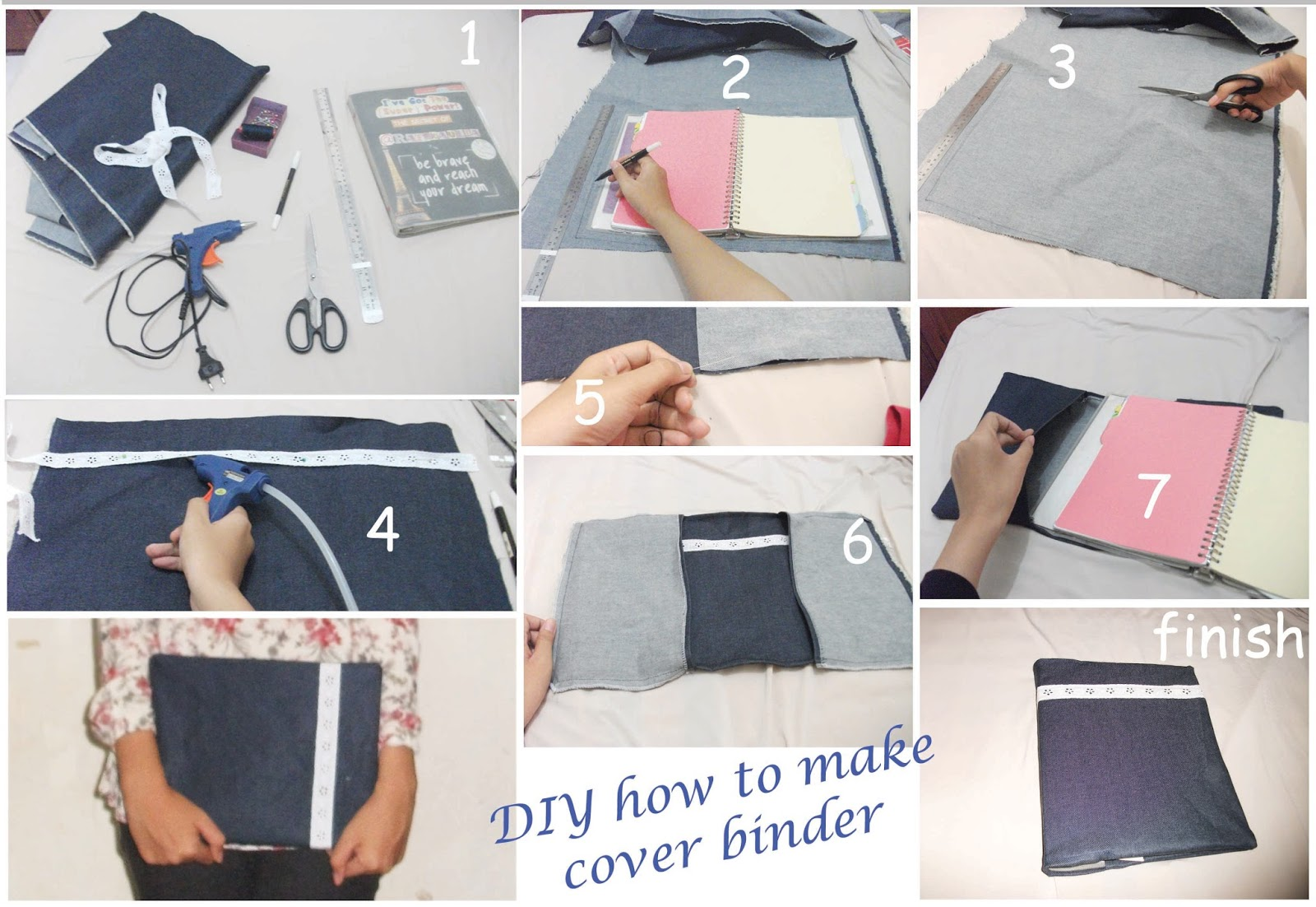 diy how to make denim binder cover rafikaulia