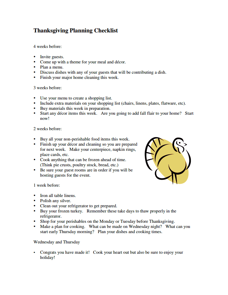 Thanksgiving Preparation Checklist -- a free printable checklist to get you prepared for the holiday.  Start 4 weeks before preparing so you are not overwhelmed this year!