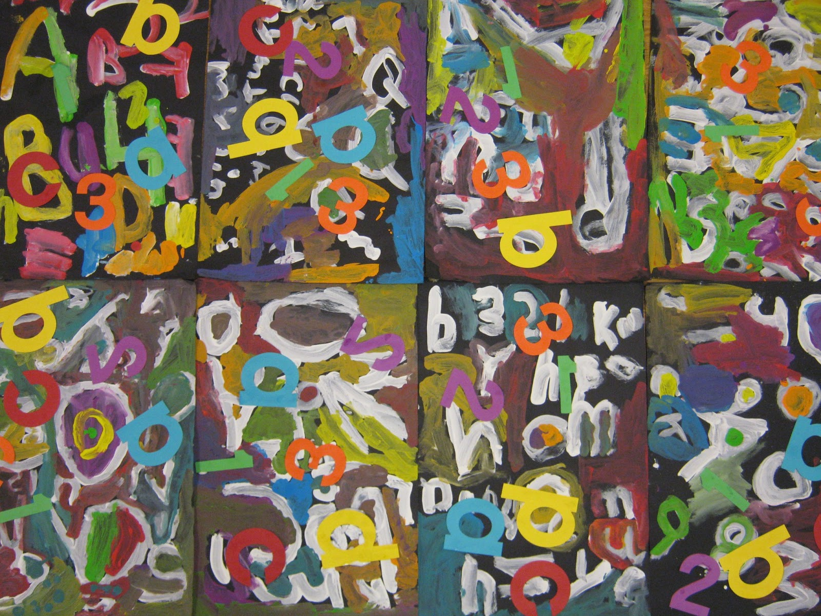 Kindergarten Abstract Alphabet Painting on This Was A Collaborative Project I Did With One