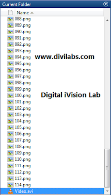 The working directory indicating the frames along with the output video file, Create A Video File From A Sequence Of Image Stored in a Folder, Using MATLAB