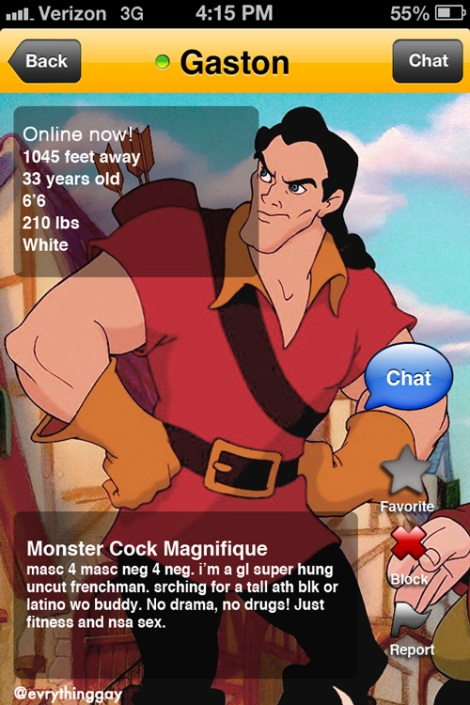 Disney's Gaston on Grindr