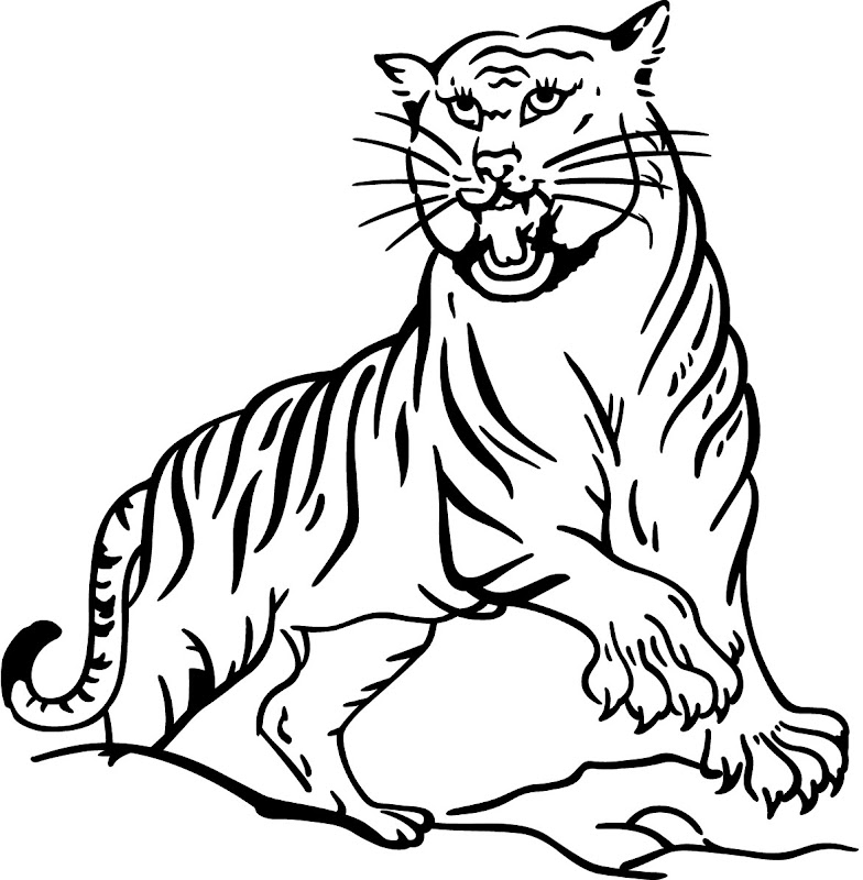 Free Printable Animal tiger Coloring Pages title=