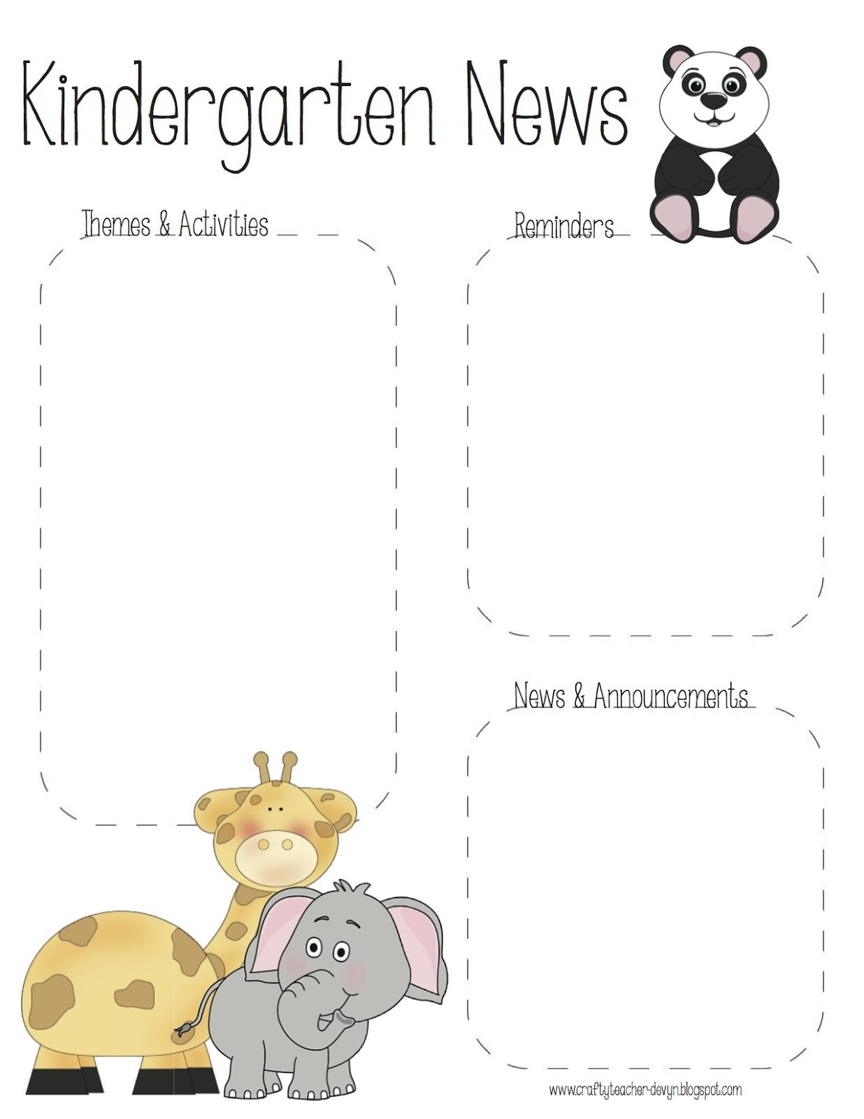 the crafty teacher pre k kindergarten zoo newsletter templates. Black Bedroom Furniture Sets. Home Design Ideas