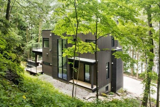 Casa moderna en los bosques de quebec modern style house for Casa minimalista bosque
