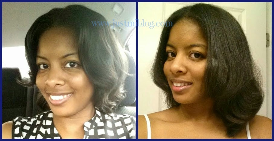 Comparing the length of my hair before and after the sew-in