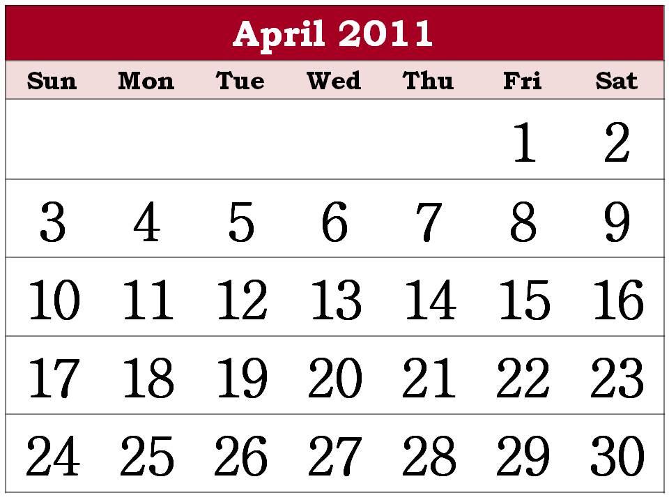 free april 2011 calendar template. free april 2011 calendar