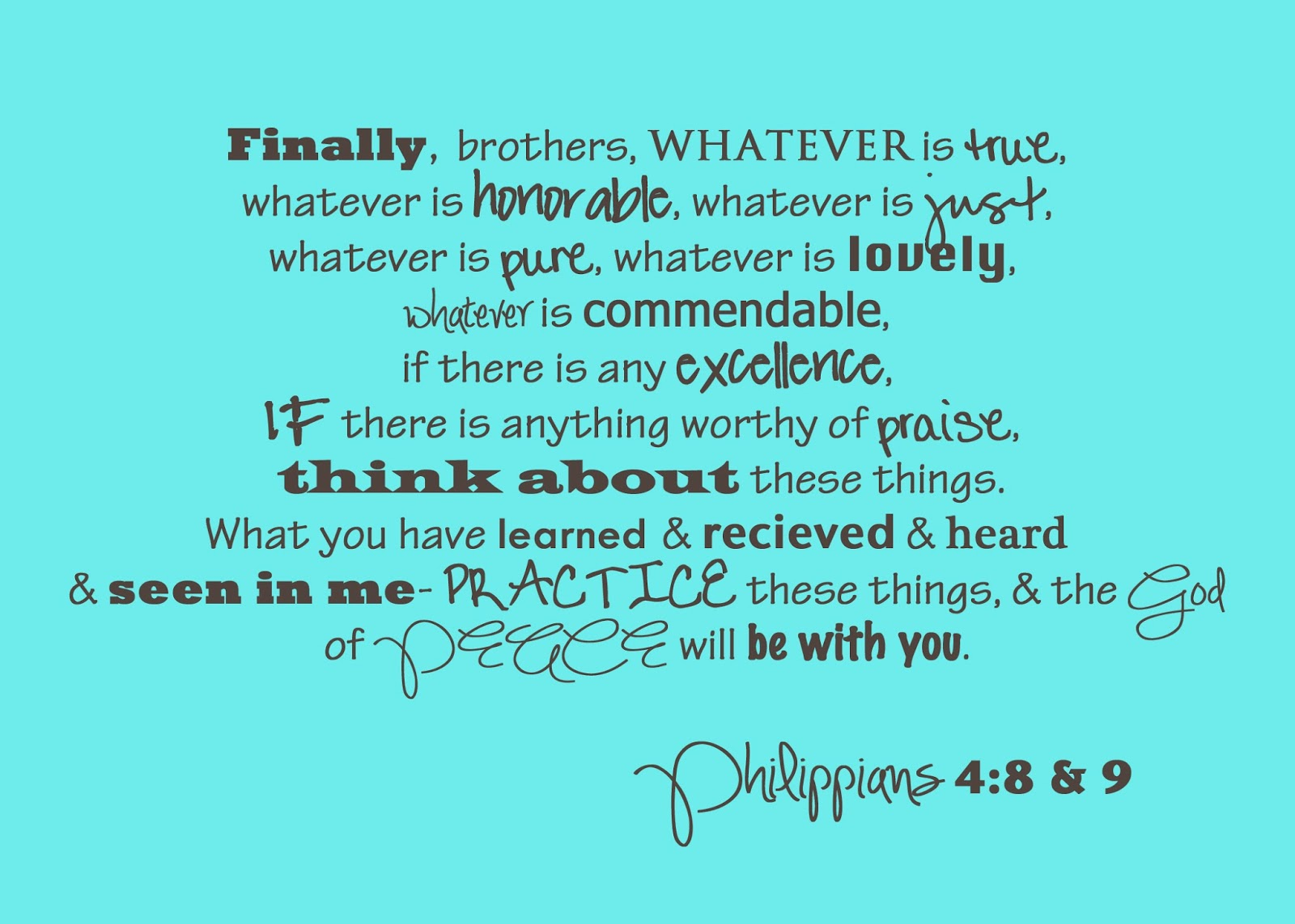 Buggy Full of Blessings!: We Are Back! Philippians 4:8 & 9