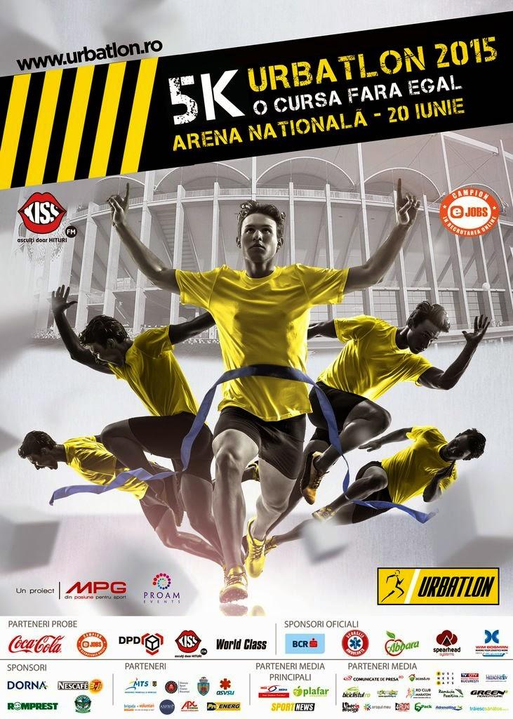 Invitaţie la URBATLON, 20 iunie 2015, Arena Nationala, Bucureşti. Alergare cu obstacole. Afis
