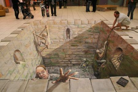 Ilusiones opticas arte y fotos desafiando a los ojos y for Ilusiones opticas en el suelo