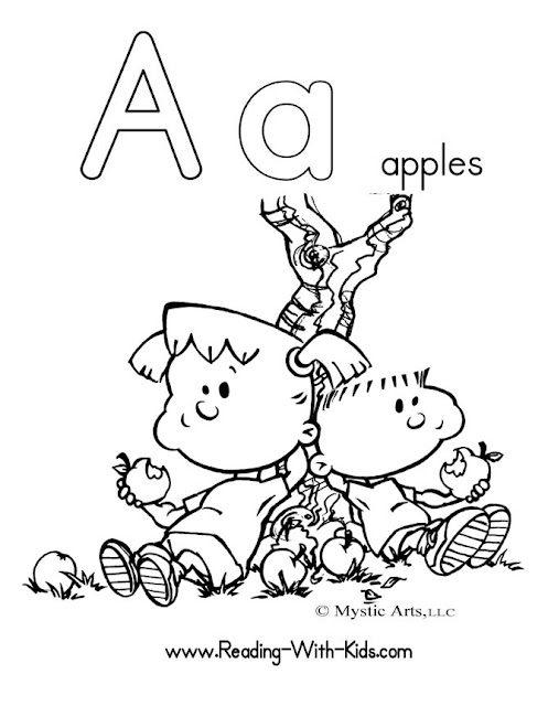 kindergarten coloring pages apple alphabets letter a