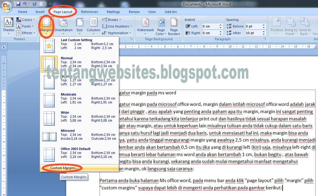 Cara mengatur margin pada microsof office word