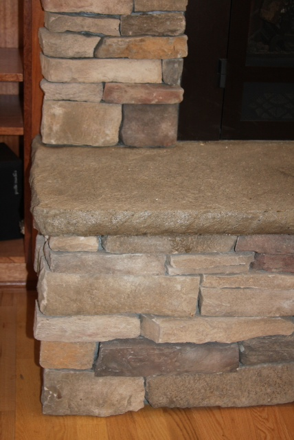 Stamped Concrete Fireplaces : Zander built construction rock fireplace with stamped