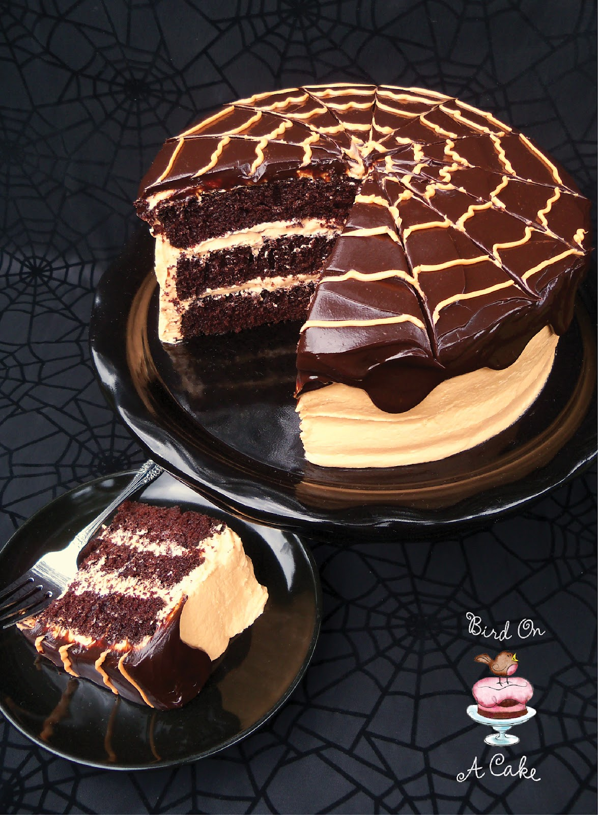 Bird On A Cake: Chocolate Orange Spider Web Cake